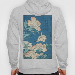 Japanese Flowers Turquoise Peach Hoody