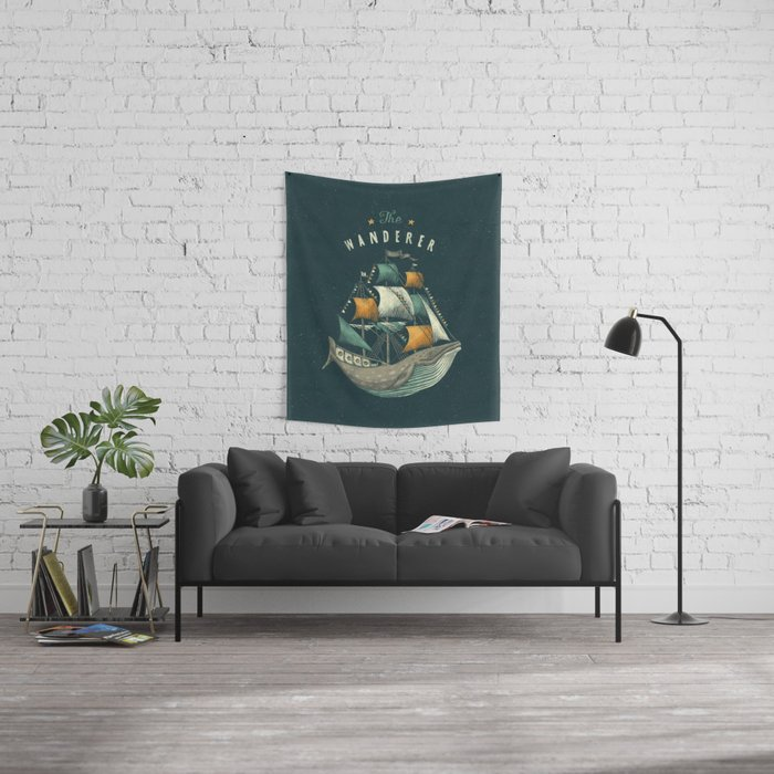 Whale | Petrol Grey Wall Tapestry