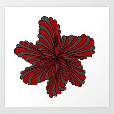 Flower in Red and Gray Art Print