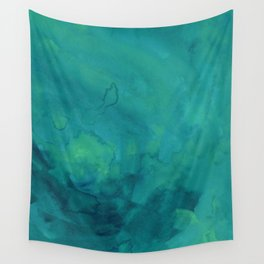 Watercolor green and blue Wall Tapestry