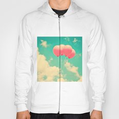 Balloons in the sky (pink ballons in retro blue sky) Hoody