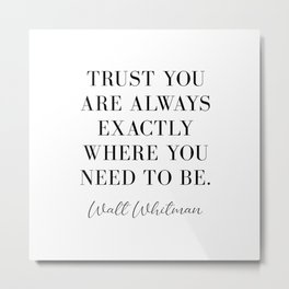 Trust you are always exactly where you need to be. Metal Print