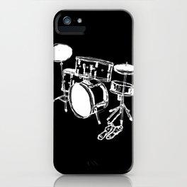 Drum Kit Rock Black White iPhone Case