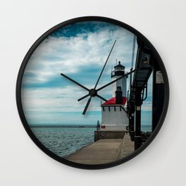 Michigan City East Pierhead Lighthouse and Catwalk Lake Michigan Light Station Wall Clock