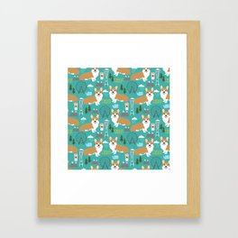 Corgi seattle washington welsh corgi pattern print dog lover gifts space needle ferris wheel coffee Framed Art Print