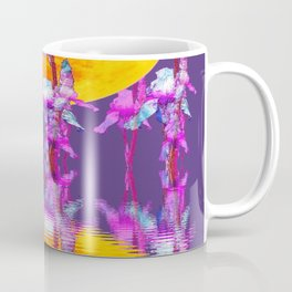 PURPLE-WHITE IRIS & MOON WATER GARDEN  REFLECTION Coffee Mug