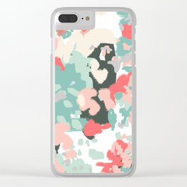 Ioro - painted abstract coral minimal mint teal bright southern charleston decor colors Clear iPhone Case