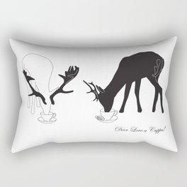 Deer love a Cuppa! Deer products, woodland illustration, animal lovers, deer gifts, Rectangular Pillow