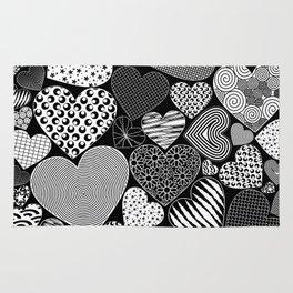 Love Hearts Doodle Art Pattern Rug