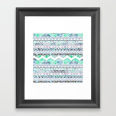 Teal Girly Floral White Abstract Aztec Pattern Framed Art Print