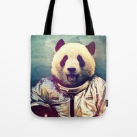 dude Tote Bags featuring The Greatest Adventure by rubbishmonkey