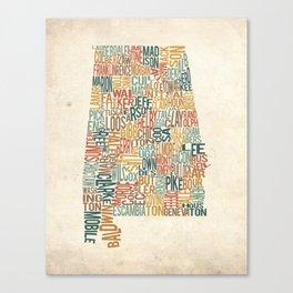 Alabama by County Canvas Print