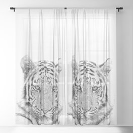 Black and white tiger Sheer Curtain