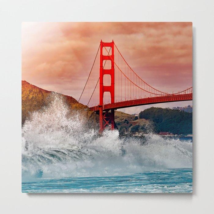 Waves over Red Bridge Metal Print
