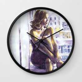 Window Watercolour Wall Clock