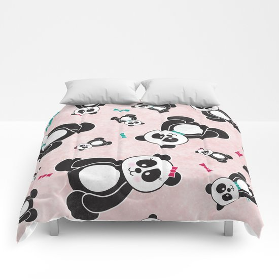 Panda Freefall in Pink Comforters