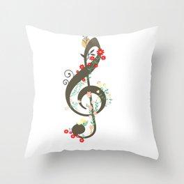 Floral sol key Throw Pillow