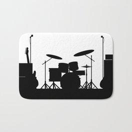 Rock Band Equipment Silhouette Bath Mat