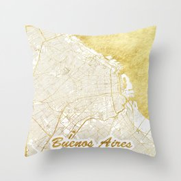 Buenos Aires Map Gold Throw Pillow