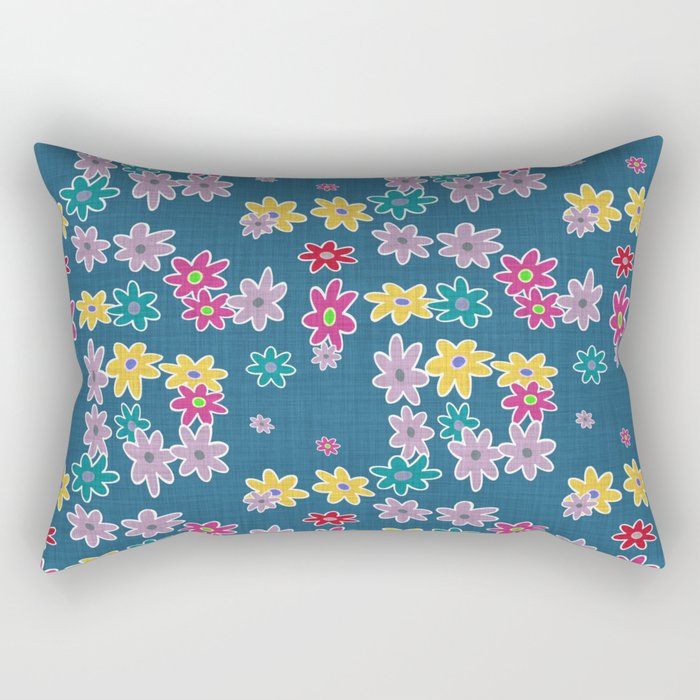 Whimsical Floral Pattern in Blue, Purple, Yellow, Pink Rectangular Pillow