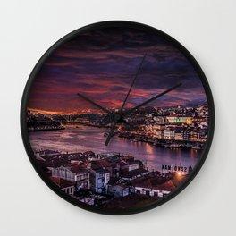 Porto Night Skyline Wall Clock
