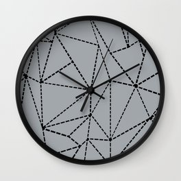 Ab Dotted Lines B on Grey Wall Clock
