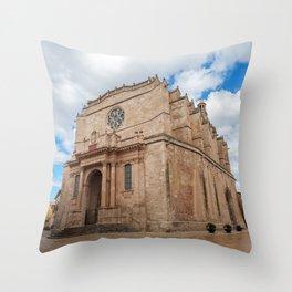 Old Santa Maria Cathedral in Ciutadella - Menorca, Spain Throw Pillow