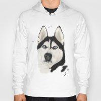 husky Hoodies featuring Husky Siberian by Sourire Art