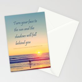 Turn your Face to the Sun and the Shadows will Fall Behind You - Maori Wisdom  - Surfer at Sunrise Stationery Cards