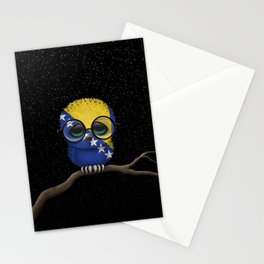 Baby Owl with Glasses and Bosnian Flag Stationery Cards
