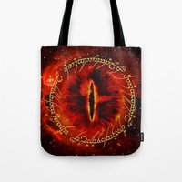 lotr Tote Bags featuring Sauron The Dark Lord by neutrone