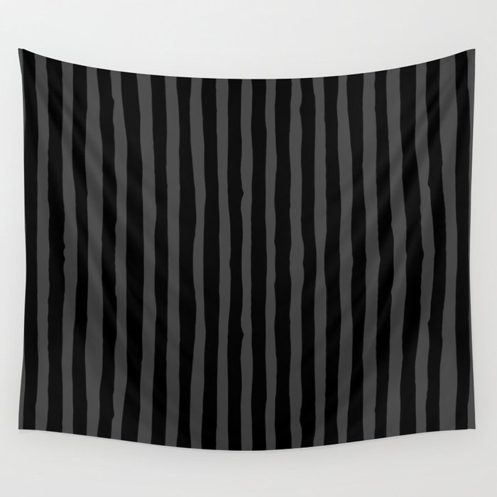 Black and Grey Stripe Wall Tapestry