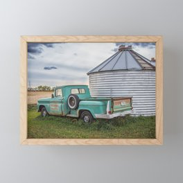 Teal Farm Truck 1 Framed Mini Art Print
