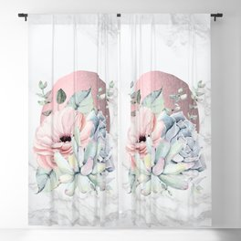 Pretty Succulents Marble - Rose Gold Sun by Nature Magick Blackout Curtain