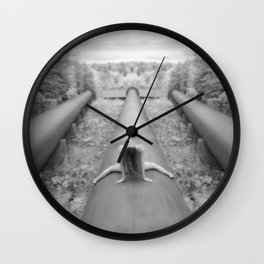 0925-LP Industrial Nature Nude Woman Straddling Massive Hydro Pipe Wall Clock
