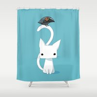 cat coquillette Shower Curtains featuring Cat and Raven by Freeminds