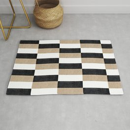 Abstraction_BLACK_LINE_EARTHY_PATTERN_POP_ART_00A Rug
