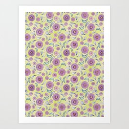 Floral on Lime Art Print