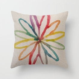 Spirograph Rainbow flower Throw Pillow