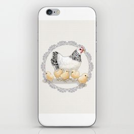 Mother Hen and Her Chicks in Crochet Wreath iPhone Skin
