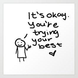 """It's okay"" Doodle Art Print"