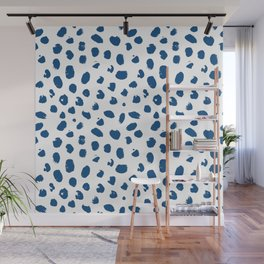 Painted spots in classic blue Wall Mural