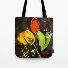 Bright spices on an old  wooden board Tote Bag
