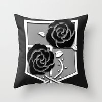 attack on titan Throw Pillows featuring Attack on Titan Stationary Guard by InVERT1X