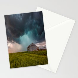 Rainy Day - Storm Passes Behind Barn in Southwest Oklahoma Stationery Cards
