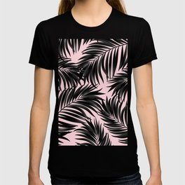 Palm Tree Fronds Black on Pink Hawaii Tropical Graphic Design T-shirt