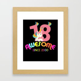Awesome Since 2000 Unicorn 18th Birthdays Anniversaries Framed Art Print