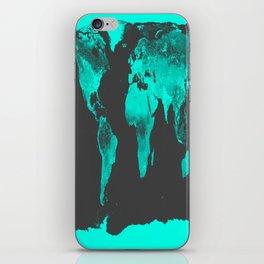 worlD MAP Aqua Gray iPhone Skin