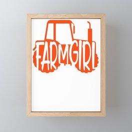 Farmer Gift Home Farm Girl Orange Tractor Farming Gift Framed Mini Art Print