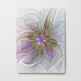 Flourish, Abstract Fractal Art Flower Metal Print